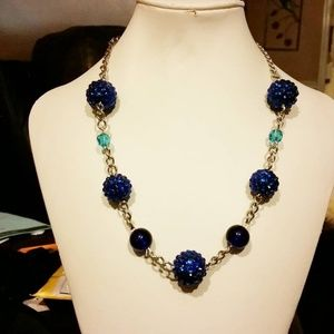 Carrie's Big Beads Jewelry - A blue and gold choker